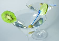 Free Cocktail Glasses With Olive, L Royalty Free Stock Image - 3436916
