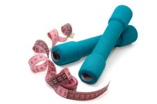 Dumbells And Measuring Tape Stock Photos