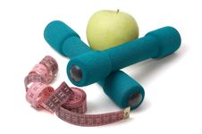Free Dumbells, Apple And Measuring Stock Images - 3438074