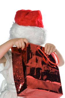 Baby In Red Santa Hat Royalty Free Stock Photos