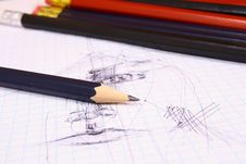 Free Pencil On White Isolated Backg Royalty Free Stock Photo - 3439075