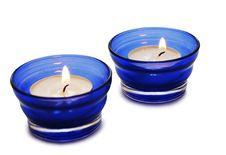 Free Two Blue Candles Isolated On The White Background Stock Photography - 3439772