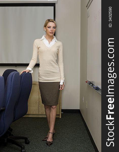 Beautiful blonde business woman
