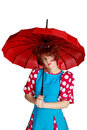 Free Woman With A Red Umbrella Royalty Free Stock Images - 34301169