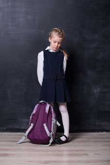 Free Little Schoolgirl With Backpack Near Blackboard Royalty Free Stock Images - 34302609