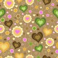 Free Seamless Pattern With Applique Of Hearts Stock Photography - 34311822