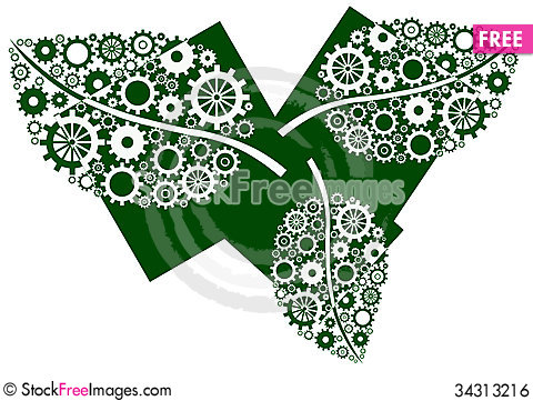 Free Green Leaves Three Blocks Royalty Free Stock Image - 34313216
