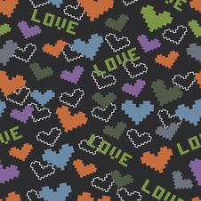 Free Seamless Pattern With Color Hearts Royalty Free Stock Images - 34311839
