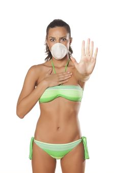 Stop Sign And Breathing Mask Stock Photography