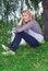 Free The Girl Sitting Near Willow Near The Lake. Stock Photo - 34314500