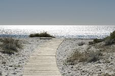Free Walkway On The Sand Royalty Free Stock Photography - 34326447