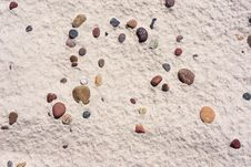 Texture Of White Sand With  Pebbles On Baltic Beach. Stock Image