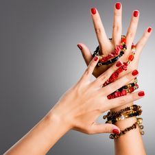 Free Closeup Photo Of A Female Hands With Red Nails Royalty Free Stock Image - 34330126