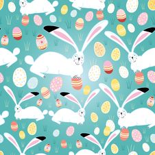 Texture Easter Eggs And Bunnies Royalty Free Stock Photos