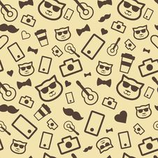 Free Hipster Seamless Pattern Stock Image - 34330941