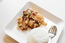 Free Spicy Asian Chicken With Rice Royalty Free Stock Photo - 34332455