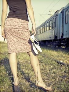 Free Barefoot Girl At The Railways Royalty Free Stock Image - 34339476