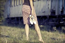 Free Barefoot Girl At The Railways Royalty Free Stock Photography - 34339477