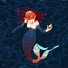 Free Mermaid In The Water With A Piece Of Gold. Royalty Free Stock Images - 34339539
