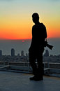 Free Silhouette Of A Photographer In The Sunset From A Skyscraper Royalty Free Stock Image - 34343986