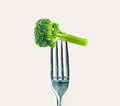 Free Broccoli On A Fork Stock Photography - 34344042