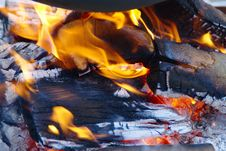 Burning Wooden Logs Stock Photos