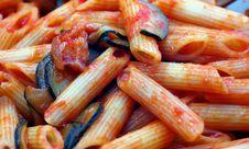 Free Pasta Tomato Sauce, Zucchini And Bacon Royalty Free Stock Photo - 34344555