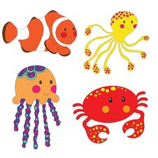 Free Set Of Cartoon Sea Creatures Royalty Free Stock Photos - 34344908