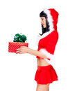 Free Beautiful Snow Maiden Holds Christmas New Year Gift Box Stock Photos - 34371753