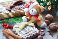 Free Christmas Greetings With Gingerbread And Biscuits Stock Photography - 34373222