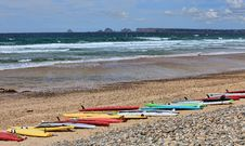 Free Surf Boards On A Beach In Brittany, France Stock Photo - 34374480