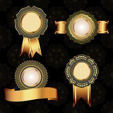Free Set Of Vintage Golden Design Elements. Stock Photography - 34374722