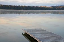 Free Dock On Misty Morning Lake Stock Photos - 34378663