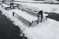 Free Bench Under Snowfall Stock Image - 34389301