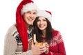Free Young Happy Couple Near A Christmas Tree. Royalty Free Stock Photo - 34389425