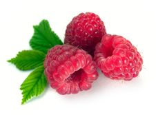 Raspberry With Leaves Stock Images