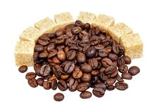 Free Coffee Beans And Sugar Royalty Free Stock Photography - 34383427