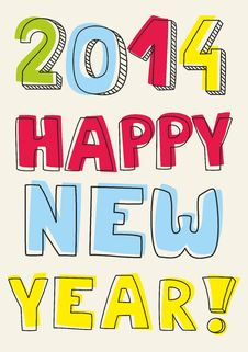 Free Happy New Year 2014 Vector Hand Drawn Colorful Wis Royalty Free Stock Photo - 34385315