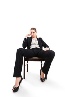 Free Businesswoman Sitting On A Chair Isolated On White Stock Photos - 34387203