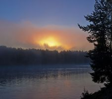 Sunblast At The Pechora River Royalty Free Stock Image