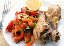 Grilled Chicken Legs With Vegetable Royalty Free Stock Photography