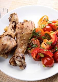 Grilled Chicken Legs With Vegetable Stock Images