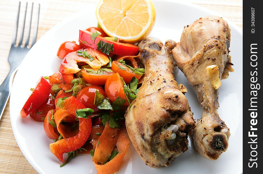 Grilled chicken legs with vegetable