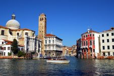 Venice - Grand Canal, Taxi Stock Images