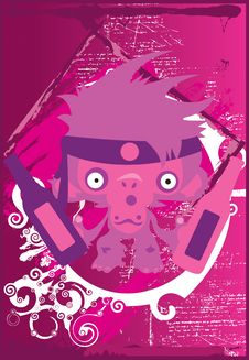 Free Martial Monkey Pink Got Beer Royalty Free Stock Photography - 3442777