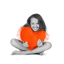 Free Beautiful Girl Embraces Red He Stock Image - 3443181