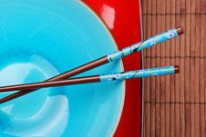 Free Blue Bowl With Chopsticks Stock Image - 3443341