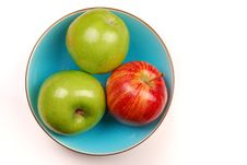 Blue Bowl With Apples Royalty Free Stock Image