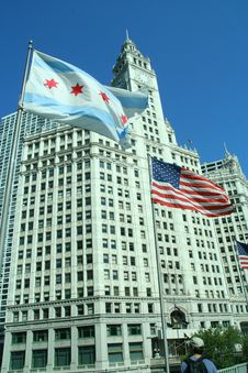 Free Chicago Building And Flag Royalty Free Stock Image - 3444936