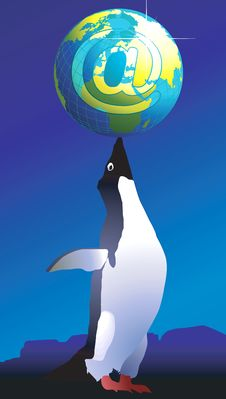 Free Penguin And Globe Royalty Free Stock Photography - 3446187